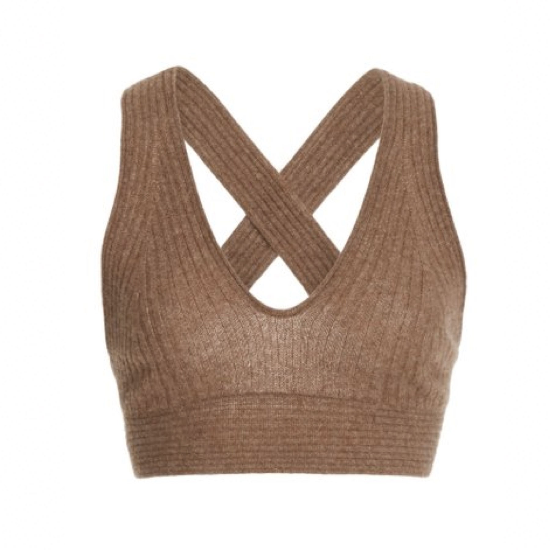 brown knit crop top with crossback straps