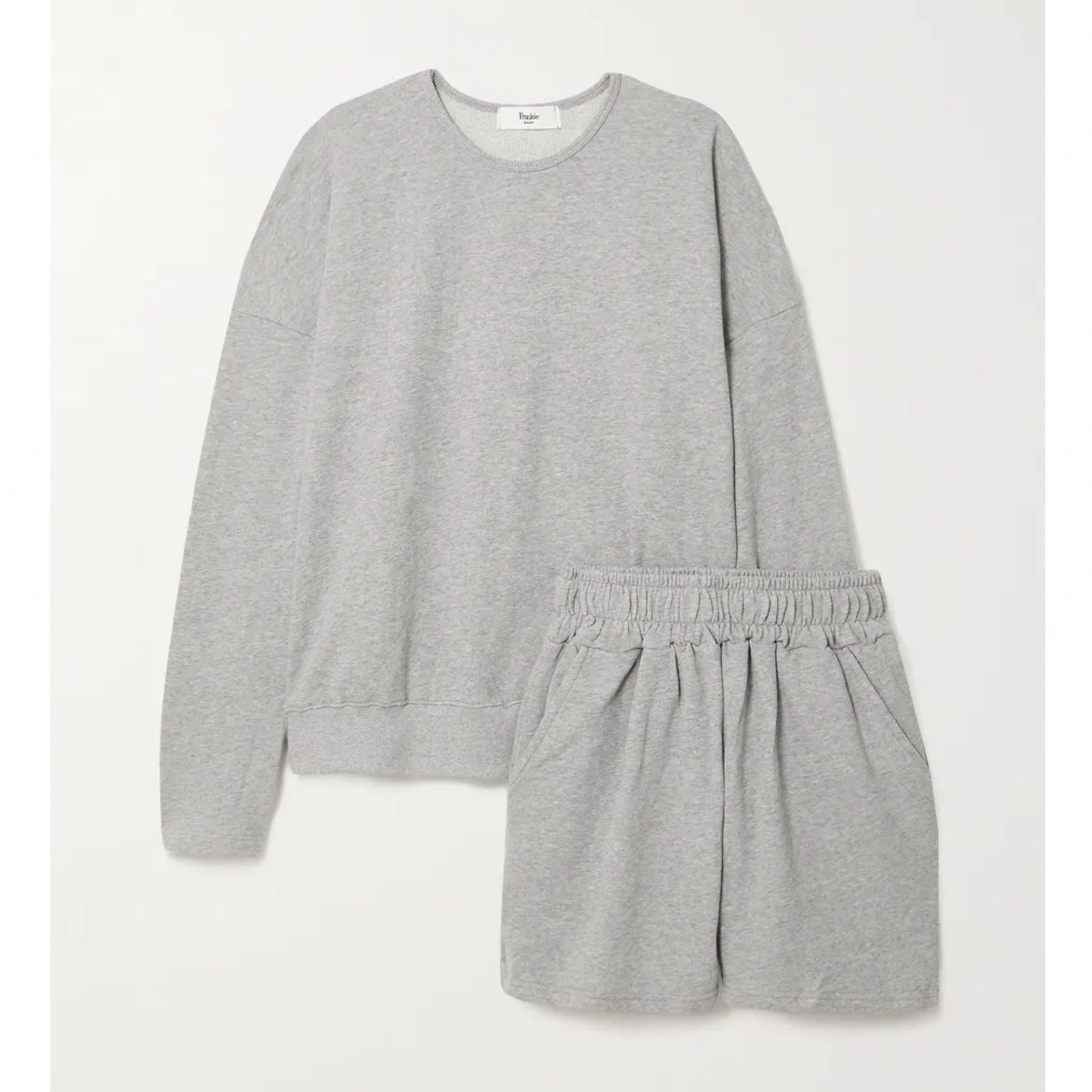 grey sweatshirt and matching shorts set
