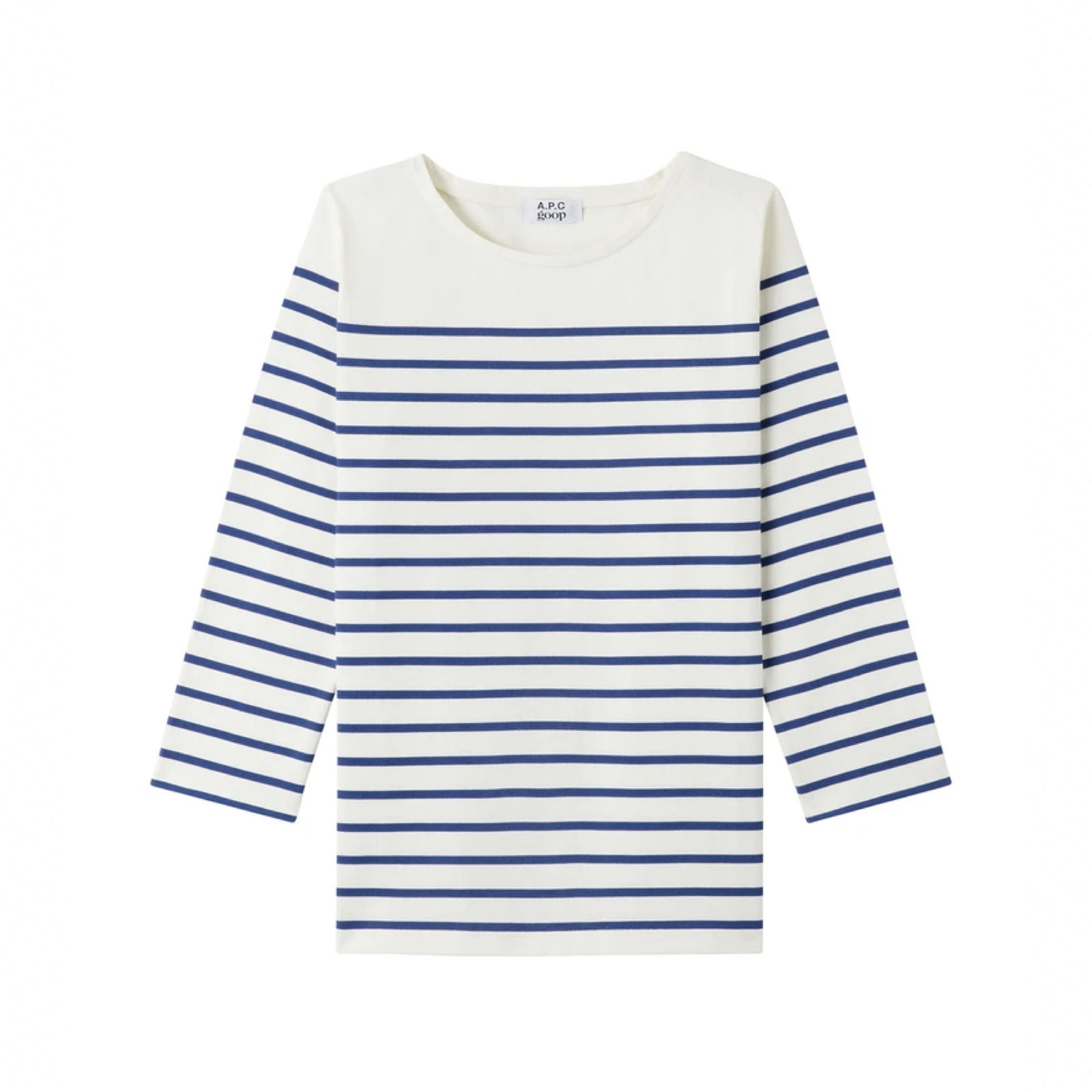 blue and white striped long sleeve top