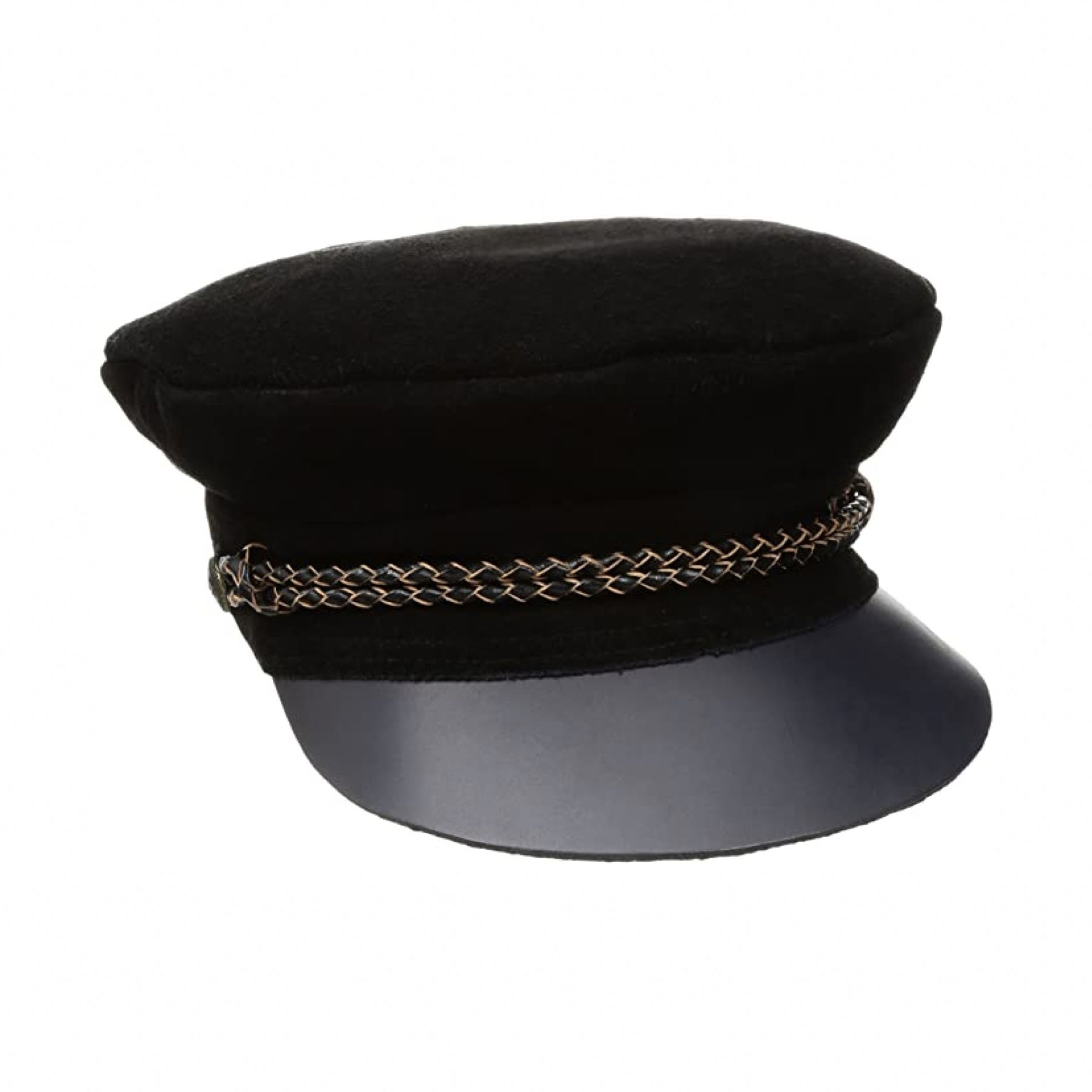 black hat with brim and gold chain