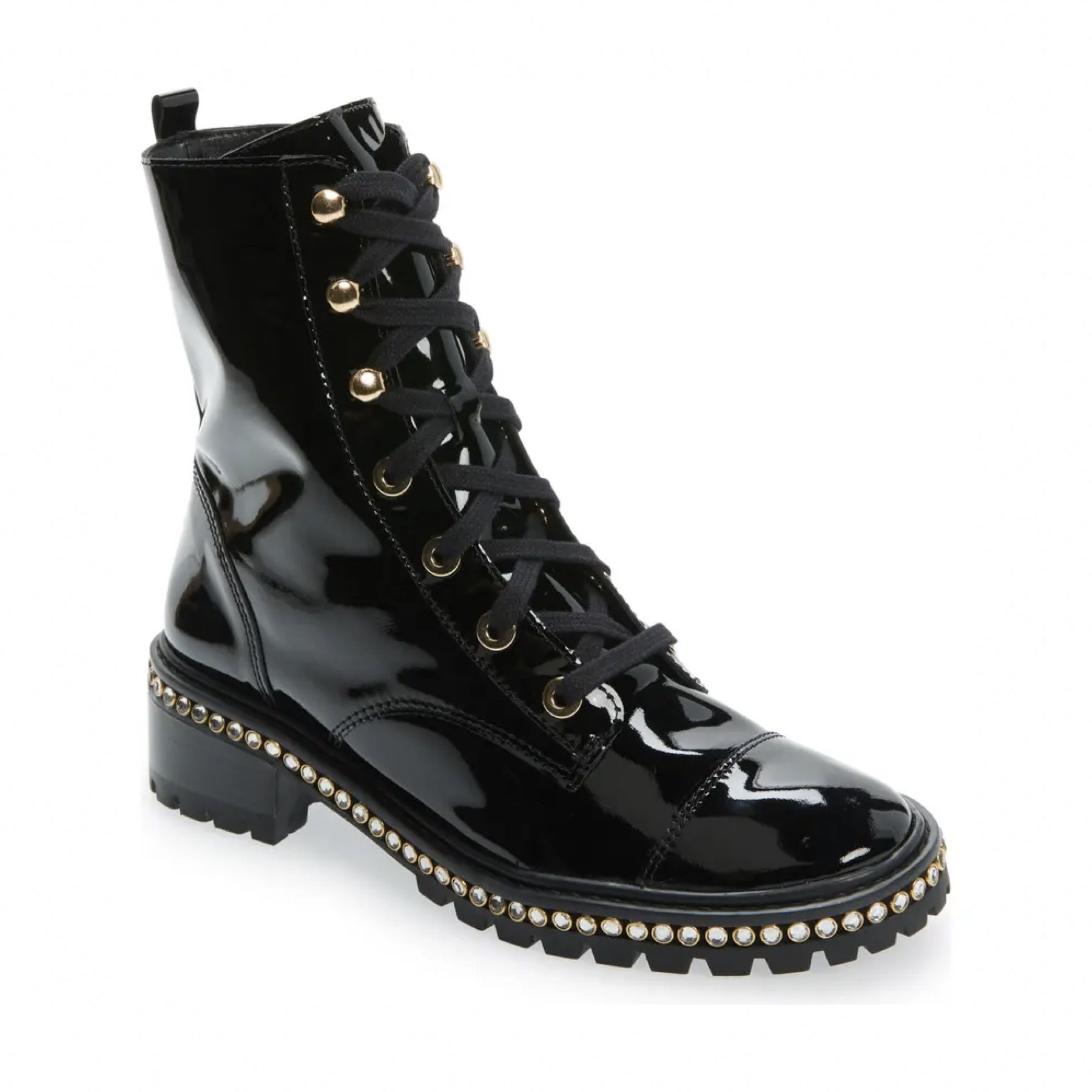 shiny leather black lace up boot
