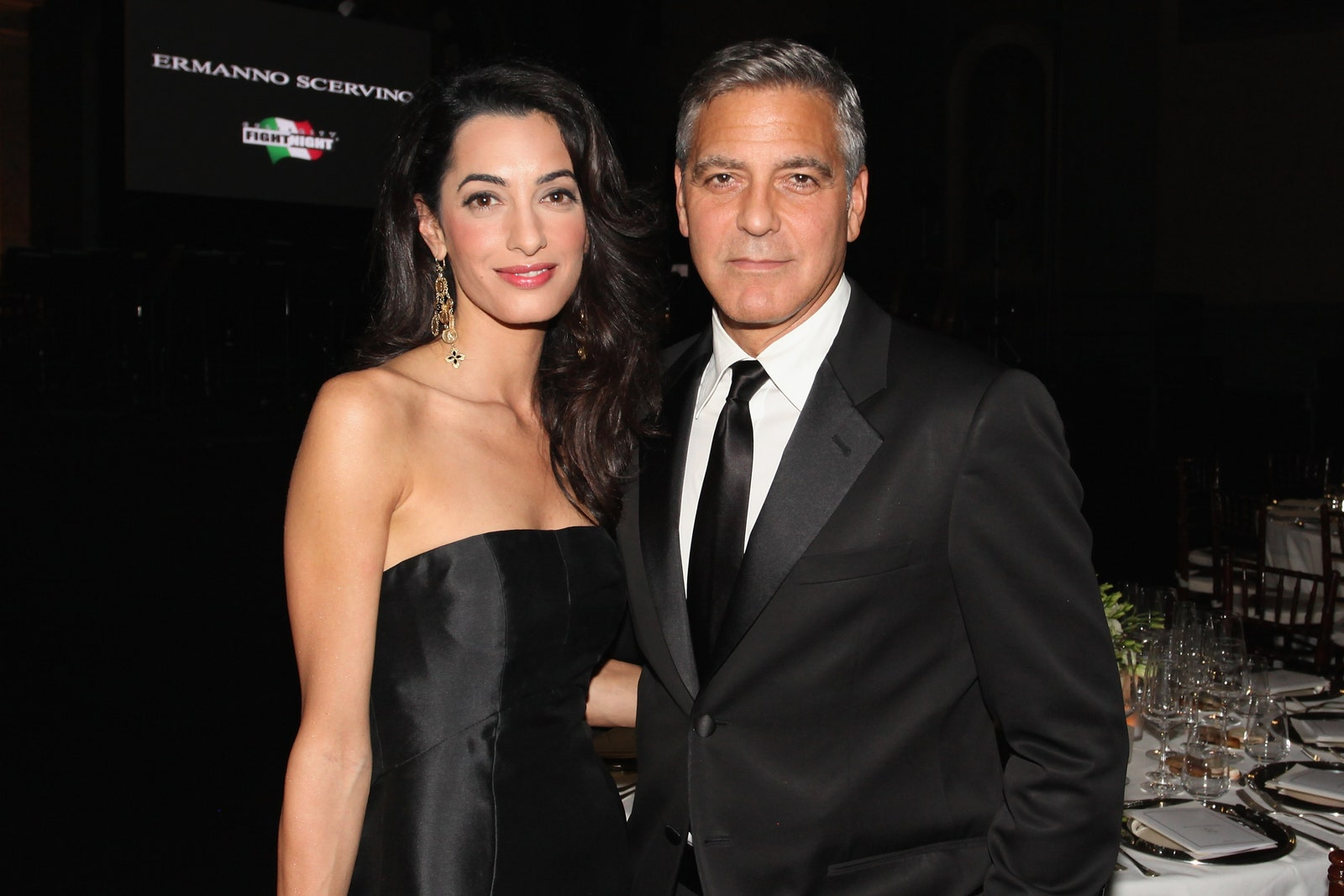 FLORENCE ITALY SEPTEMBER 07 Amal Alamuddin and George Clooney attend the Celebrity Fight Night In Italy Benefitting The...