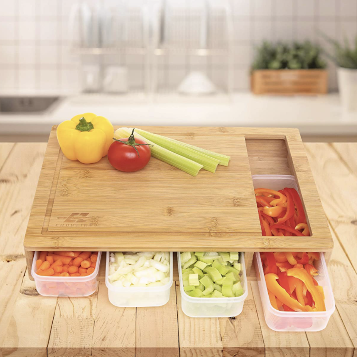 Bamboo cutting board with containers and lids