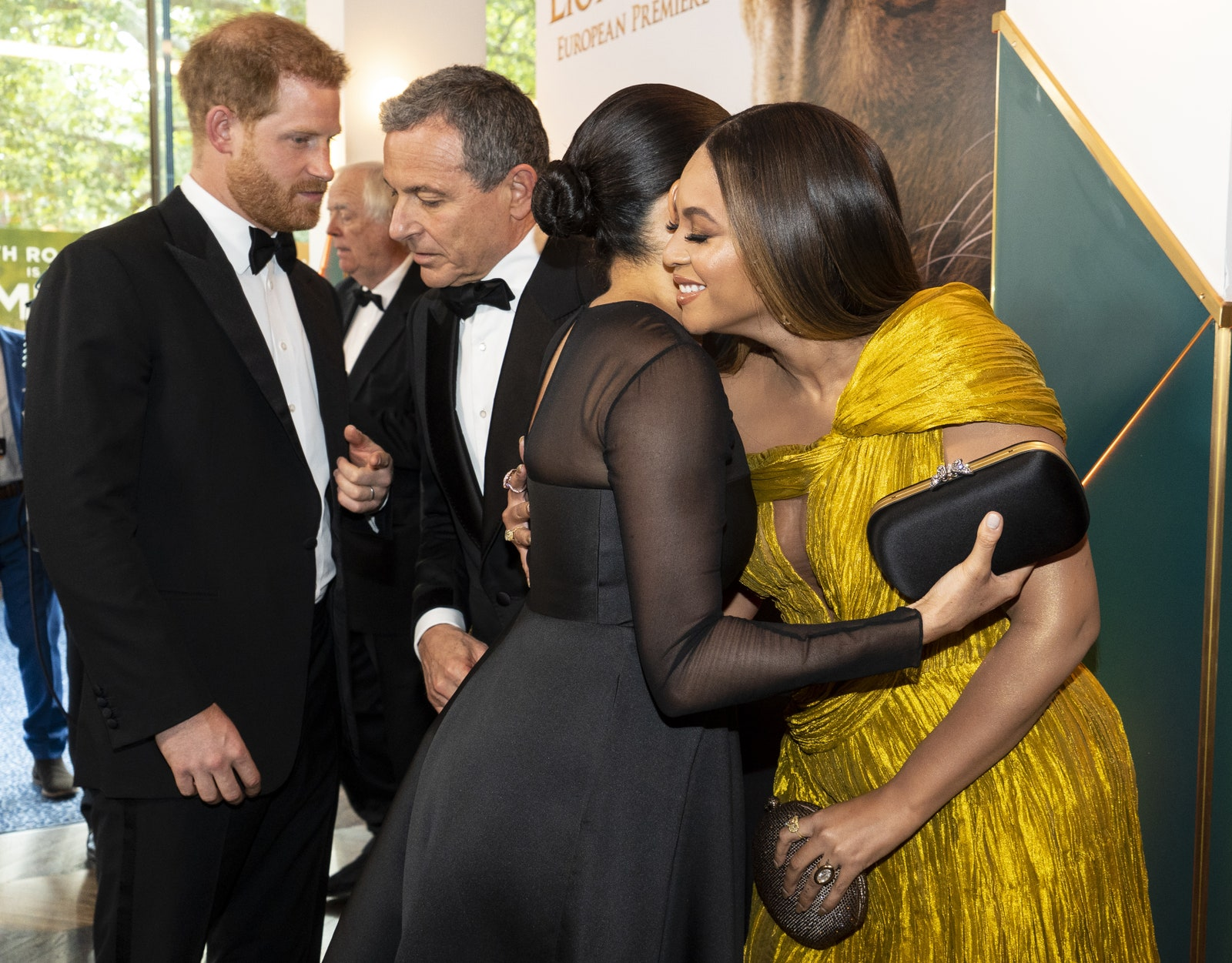 LONDON ENGLAND JULY 14 Prince Harry Duke of Sussex chats with Disney CEO Robert Iger as Meghan Duchess of Sussex ...
