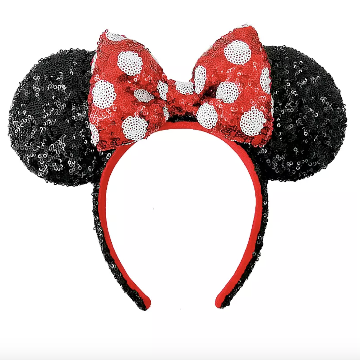 Minnie Mouse sequined ear headbands red and white