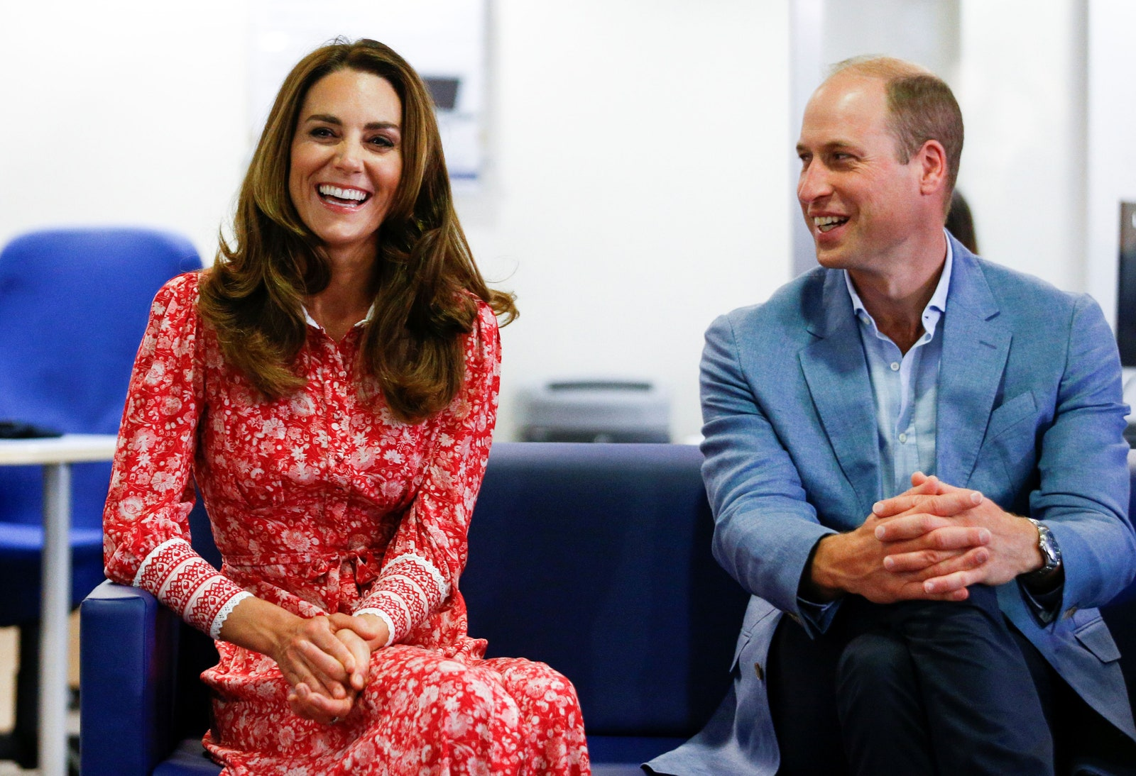 Kate Middleton and Prince William speak to people looking for work at the London Bridge Jobcentre in London on September...