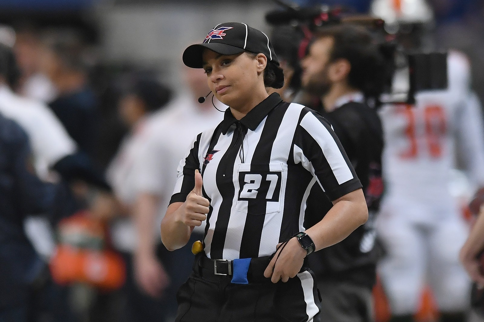 ST. LOUIS MO FEBRUARY 29 Line Judge Maia Chaka 27 looks on prior to an XFL game between the St. Louis Battlehawks and...