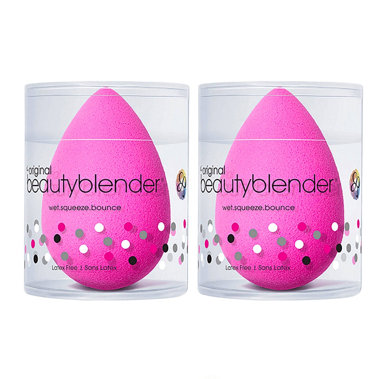 set of pink beauty blenders in clear boxes