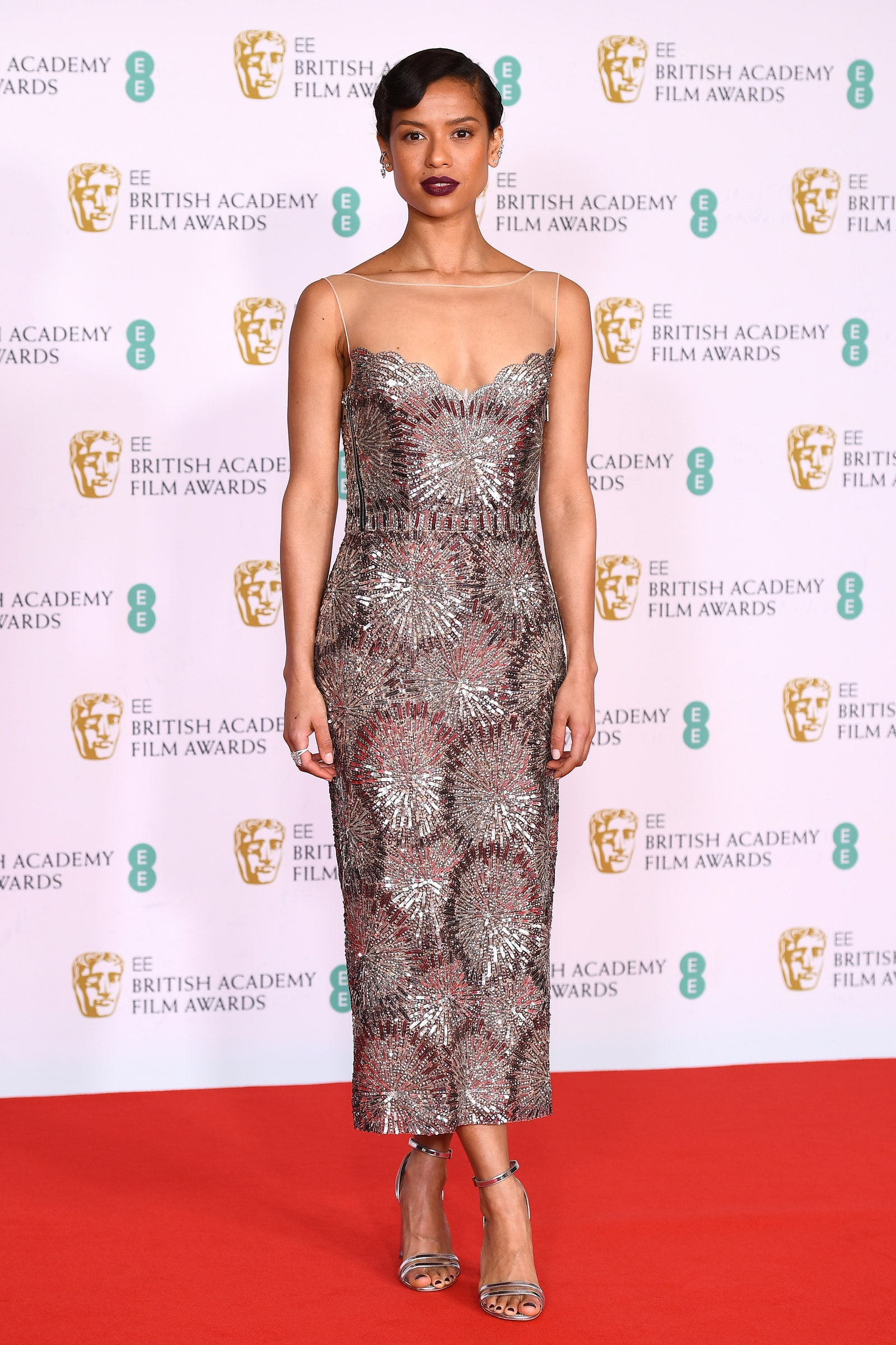 LONDON ENGLAND APRIL 11 Awards Presenter Gugu MbathaRaw attends the EE British Academy Film Awards 2021 at the Royal...