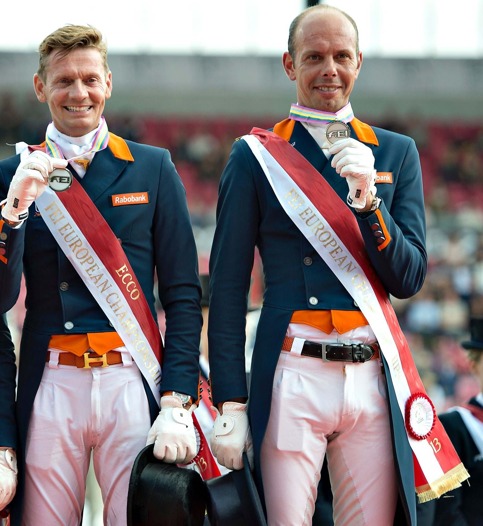 The Dutch team pose on the podium with their Silver medals after the FEI Dressage European Championships in Herning...