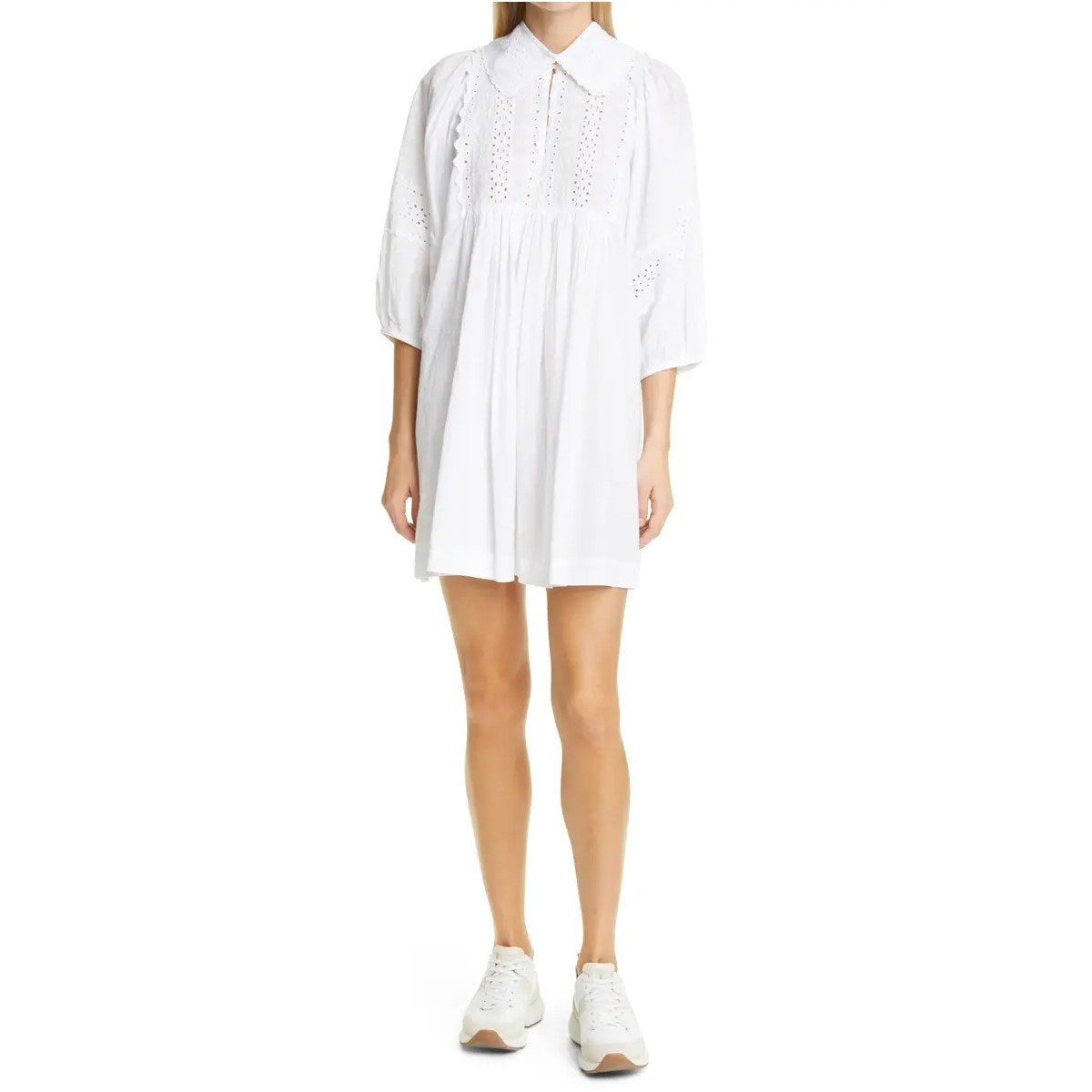 Broderie Anglaise Minidress with Removable Collar