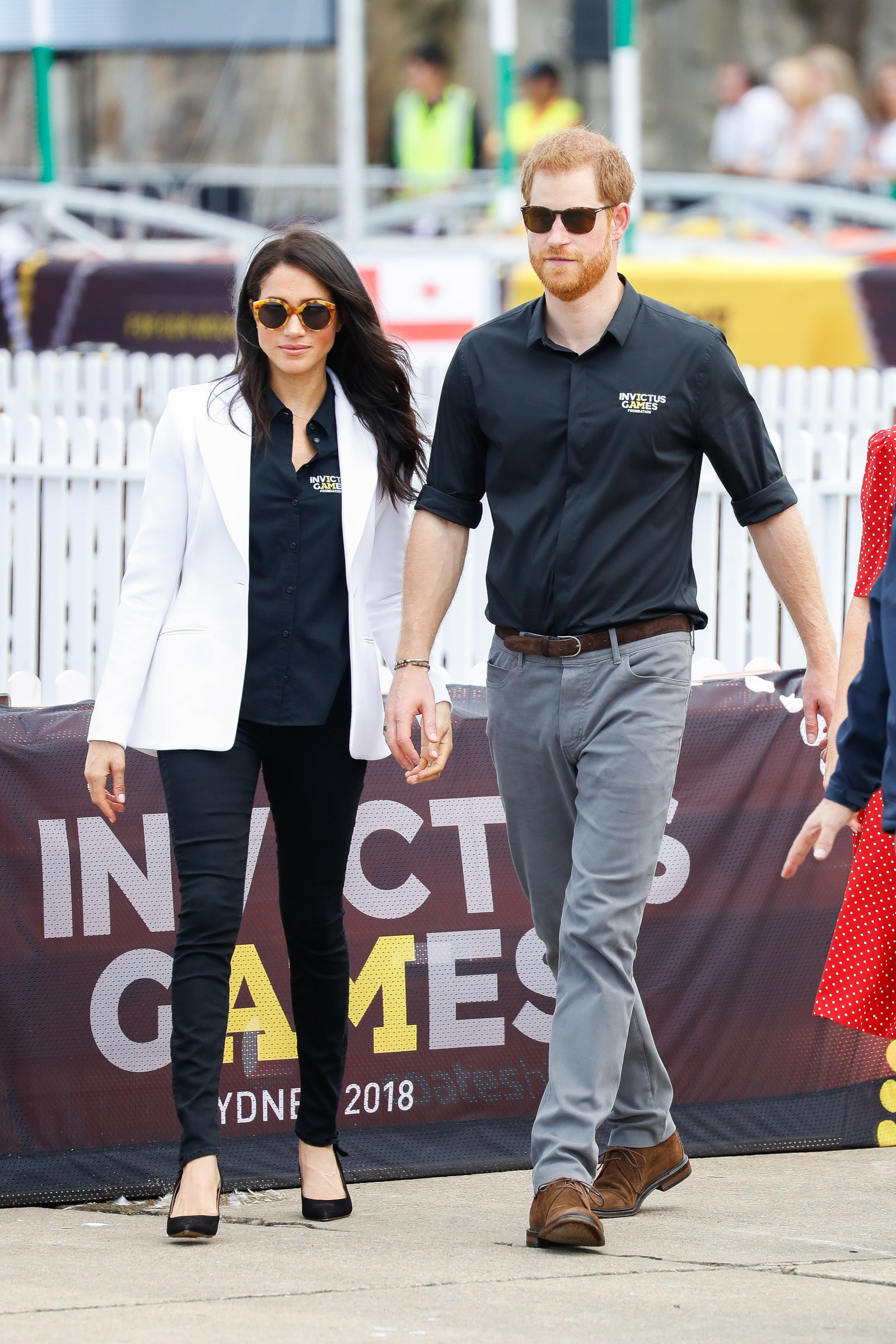 SYDNEY AUSTRALIA OCTOBER 20 Prince Harry Duke of Sussex and Meghan Duchess of Sussex during the JLR Drive Day at...